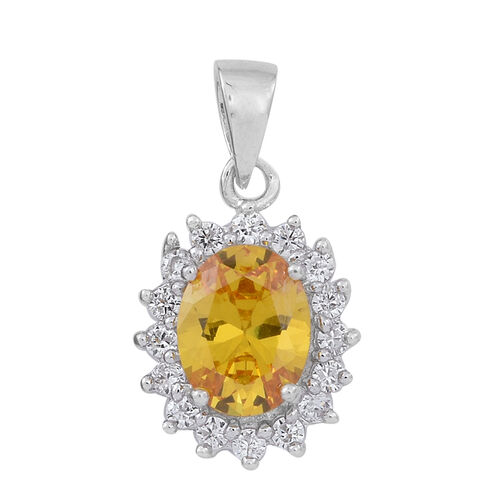 ELANZA AAA Simulated Citrine (Ovl), Simulated White Diamond Pendant and Stud Earrings (with Push Back) in Rhodium Plated Sterling Silver