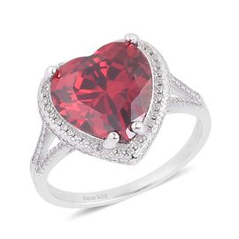 Simulated Ruby (Hrt), Simulated White Diamond Ring in Rhodium Plated Sterling Silver