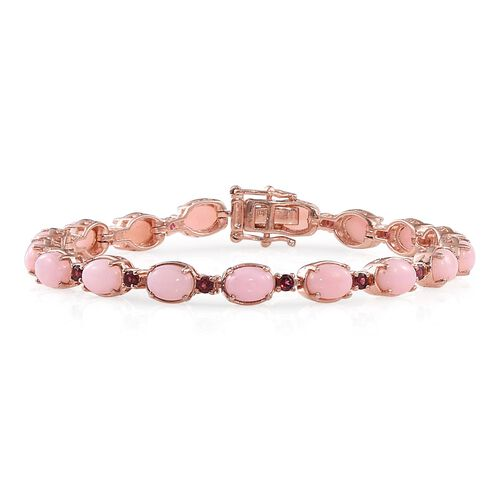 Designer Inspired - Natural Peruvian Pink Opal (Ovl), Rhodolite Garnet Bracelet (Size 7.5) in Rose Gold Overlay Sterling Silver 13.250 Ct.