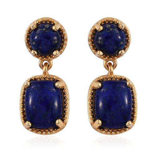 Lapis Lazuli (Cush) Earrings (with Push Back) in 14K Gold Overlay Sterling Silver 7.000 Ct.