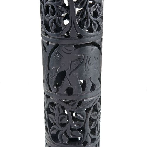 Home Decor - Beautiful Elephant and Filigree Carved Black Soapstone Incense Pipe (Size 10x2)