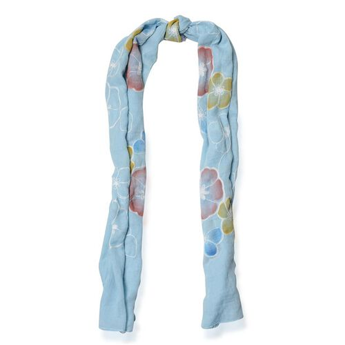 Multi Colour Flower Embroidered Light Blue Colour Scarf (Size 175x70 Cm)