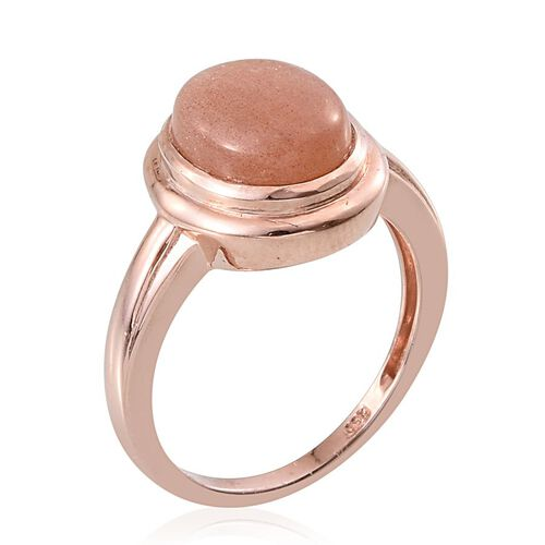 Morogoro Peach Sunstone (Ovl) Solitaire Ring in Rose Gold Overlay Sterling Silver 3.750 Ct.