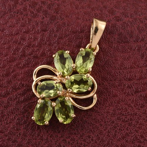 AA Hebei Peridot (Ovl) Pendant in 14K Gold Overlay Sterling Silver 2.750 Ct.