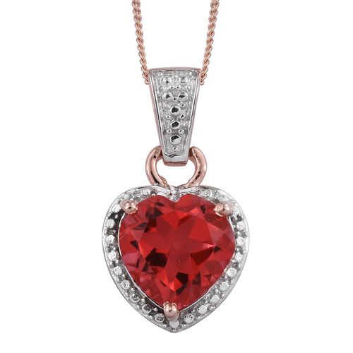 Padparadscha Quartz (Hrt) Solitaire Pendant With Chain in Rose Gold Overlay Sterling Silver 3.750 Ct.