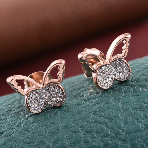 Kimberley Butterfly Collection Natural Cambodian Zircon (Rnd) Butterfly Earrings (with Push Back) in Rose Gold Overlay Sterling Silver