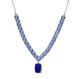 Lapis Lazuli (Cush 3.25 Ct), Signity Blue Topaz Necklace (Size 20) in Platinum Overlay Sterling Silver 30.250 Ct.