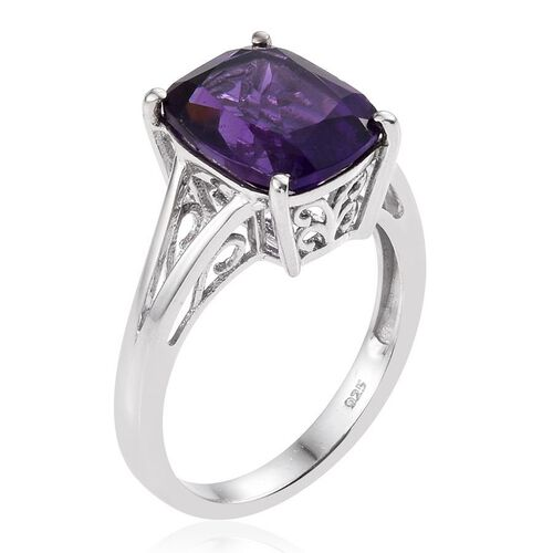Amethyst (Cush) solitaire Ring in Platinum Overlay Sterling Silver 5.000 Ct.