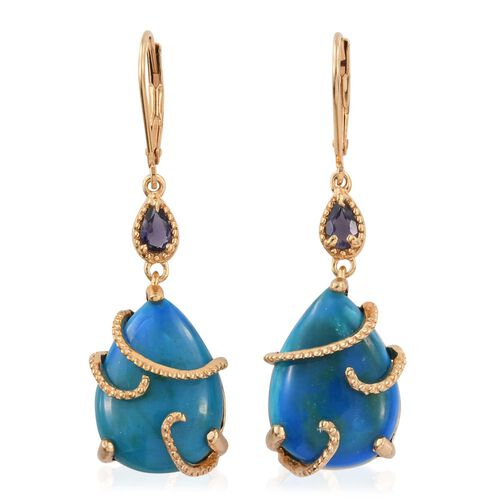 Natural Rare Opalina (Pear), Iolite Lever Back Earrings in 14K Gold Overlay Sterling Silver 17.080 Ct.