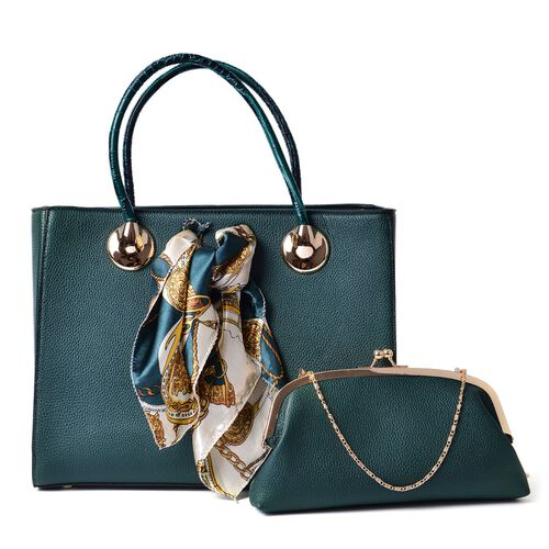 Teal Green Colour Large Tote Bag with External Zipper Pocket, Small Clutch and Multi Colour Scarf (Size 35x28x12 Cm, 27x13.5 Cm and 51x47 Cm)