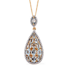Espirito Santo Aquamarine (Ovl) Pendant with Chain in 14K Gold Overlay Sterling Silver 2.750 Ct.