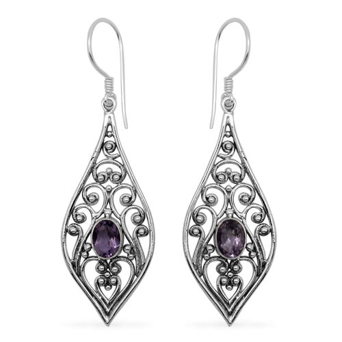 Royal Bali Collection African Amethyst (Ovl) Hook Earrings in Sterling Silver 1.420 Ct.