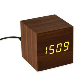 Wooden Style LED Clock( With Sound Activation, 3 Alarm Setting, Room Temperature, Date Display Feature) Chocolate-Yellow