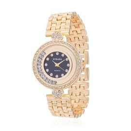 STRADA Austrian Crystal Studded YG Tone Watch with Floating Crystals