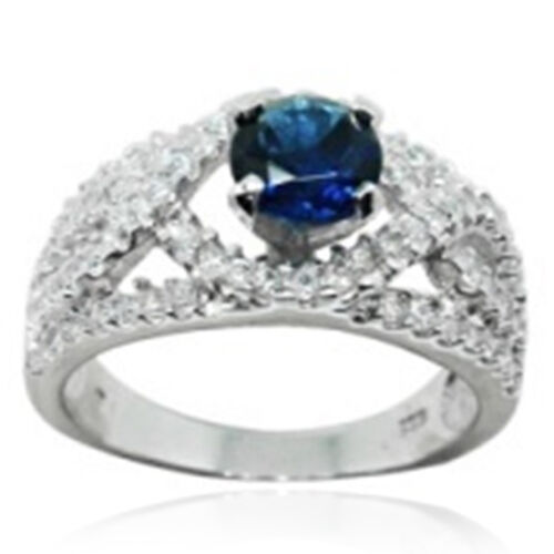 AAA Simulated Blue Sapphire (Rnd), Simulated Diamond Ring in Rhodium Plated Sterling Silver