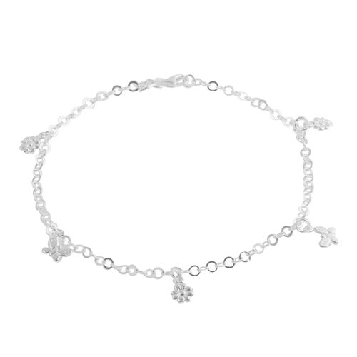 Close Out Deal Sterling Silver Floral and Butterfly Charm Anklet (size 10), Silver wt 4.50 Gms.