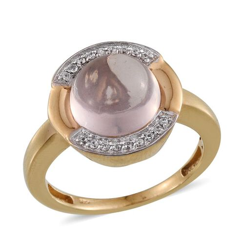 Rose Quartz (Rnd 4.10 Ct), Natural Cambodian Zircon Ring in 14K Gold Overlay Sterling Silver 4.250 Ct.