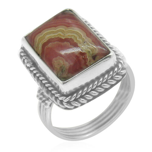 Royal Bali Collection Argentinian Rhodochrosite (Oct) Solitaire Ring in Sterling Silver 7.990 Ct.