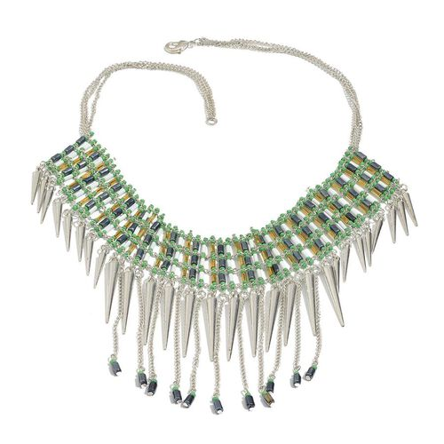 Green and Yellow Seed Beads Spike Dangling Necklace (Size 18.5)