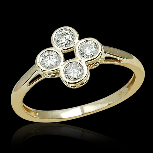 14K Yellow Gold 0.50 Carat IGI Certified Diamond Round I2 G-H Ring.