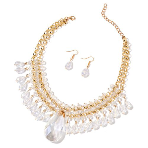 Simulated White Diamond Necklace (Size 20 with 3 inch Extender) and Hook Earrings in Yellow Gold Tone with Stainless Steel