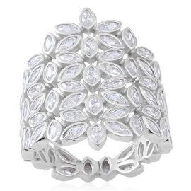 Signature Collection- ELANZA AAA Simulated White Diamond (Mrq) Floral Ring in Rhodium Plated Sterling Silver