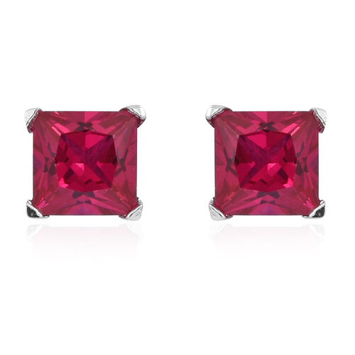 Set of 3 - ELANZA AAA Simulated Rubellite (Sqr), Simulated Tsavorite Garnet and Simulated Ceylon Sapphire Stud Earrings (with Push Back) in Rhodium Plated Sterling Silver