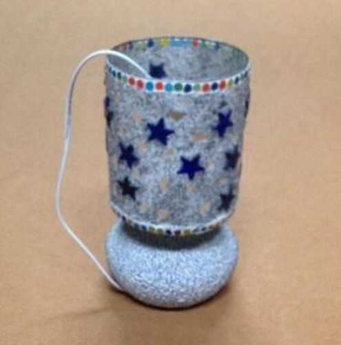 (Option 1) Home Decor - Beautiful Handmade Craft White Glass Mosaic Star Table Lamp with Electric Fitting