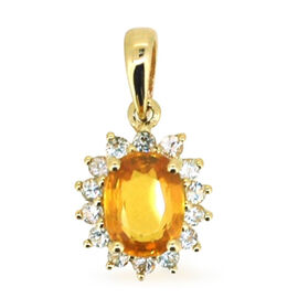 9K Y Gold Yellow Sapphire (Ovl 1.75 Ct), White Sapphire Pendant 2.200 Ct.