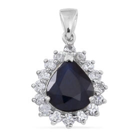 Blue Sapphire (Pear 4.80 Ct), Natural Cambodian White Zircon Pendant in Rhodium Plated Sterling Silver 6.250 Ct.