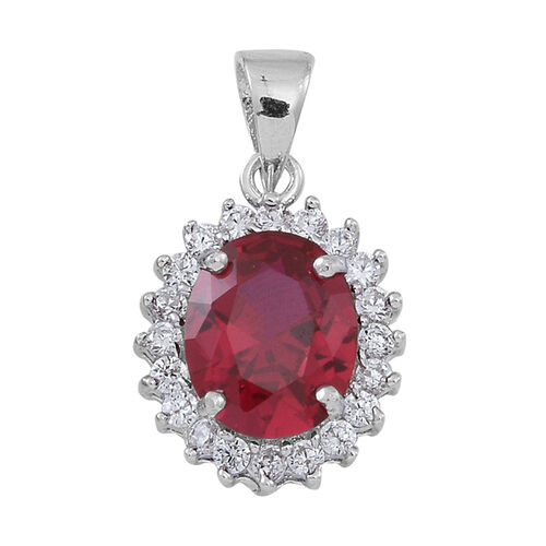AAA Simulated Ruby (Ovl), Simulated White Diamond Pendant in Rhodium Plated Sterling Silver Pendant