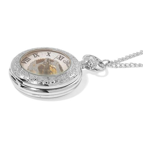 GENOA Automatic Skeleton White Dial Water Resistant Pocket Watch with Chain (Size 32) in Silver Tone