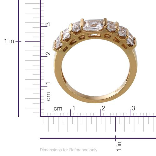 ELANZA AAA Simulated Diamond (Sqr) Ring in 14K Gold Overlay Sterling Silver