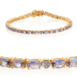 Tanzanite (Ovl), Diamond Bracelet (Size 7.5) in Yellow Gold Overlay Sterling Silver 6.050 Ct.