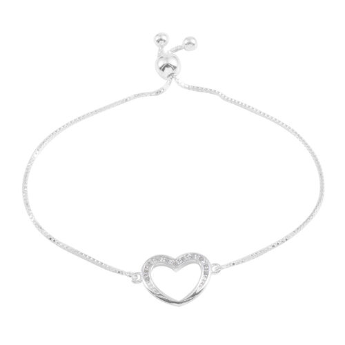 JCK Vegas Collection AAA Simulated Diamond (Rnd) Adjustable Heart Bracelet (Size 9) in Sterling Silver