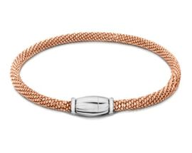 Close Out Deal Rose Gold Overlay Sterling Silver Bracelet (Size 7.5), Silver wt 8.70 Gms.