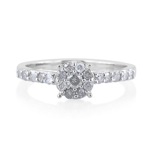 9K White Gold SGL Certified Diamond (Rnd 0.08 Ct) (I3/G-H) Engagement Ring 0.500 Ct.