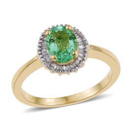 ILIANA 18K Y Gold Boyaca Colombian Emerald (Ovl 1.00 Ct), Diamond Ring 1.250 Ct.
