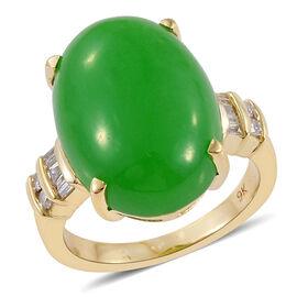 Limited Available 9K Y Gold Green Jade (Ovl 13.55 Ct), Diamond Ring 13.750 Ct. Gold Wt 4.22 Gms.