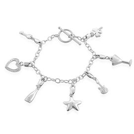 Diamond (Rnd) 7 Charm Bracelet with Toggle Lock in Platinum Overlay Sterling Silver (Size 7.5) 0.020 Ct.