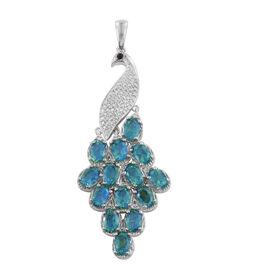 Peacock Quartz (Ovl), Kanchanaburi Blue Sapphire Peacock Pendant in Platinum Overlay Sterling Silver 9.000 Ct.
