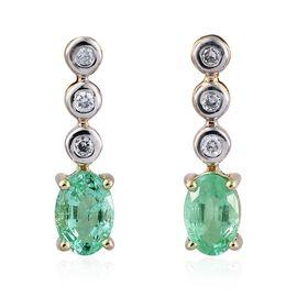 14K Y Gold Boyaca Colombian Emerald (Ovl), Diamond Earrings (with Push Back) 1.000 Ct.