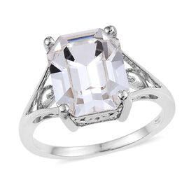 J Francis Crystal from Swarovski - White Colour Crystal (Oct) Solitaire Ring in Platinum Overlay Sterling Silver