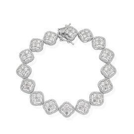 J Francis - Platinum Overlay Sterling Silver (Rnd) Bracelet Made with SWAROVSKI ZIRCONIA (Size 7.5) 7.840 Ct.