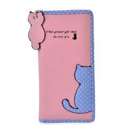 Cat Charm Pink and Blue Colour Wallet (Size 19x9x3 Cm)