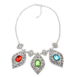 Multi Colour Glass and White Austrian Crystal Necklace (Size 18) in Silver Tone