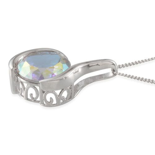 Mercury Mystic Topaz (Rnd) Solitaire Pendant With Chain in Platinum Overlay Sterling Silver 8.250 Ct.