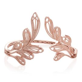 ION Plated 18K Rose Gold Bond Feather Bangle (Size 7.5)