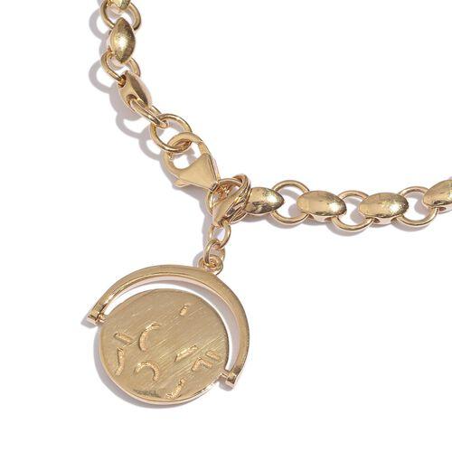 GP Kanchanaburi Blue Sapphire (Rnd) Coin Charm Bracelet (Size 7.5) in 14K Gold Overlay Sterling Silver