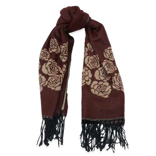 Designer Inspired Rose Pattern Brown Colour Scarf (Size 135x130 Cm)